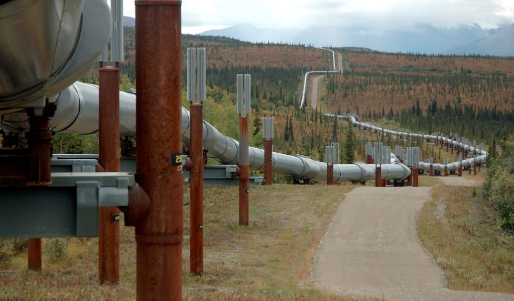 The Trans-Alaska Oil Pipeline, as it zig-zags across the landscape. Cold spray repair can be done in-situ. Image taken north of the Alaska Range.
